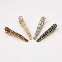 Women Crystal Pins Slide Snap Hair Clip Barrette Grips Pearl Hairpin Accessories