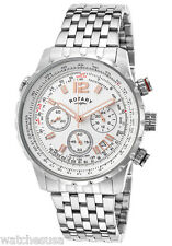 Rotary Mens White Dial Stainless Steel Bracelet Chronograph Watch GB00149/01