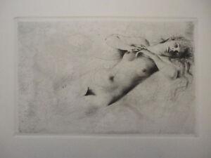 Radierung Kupferdruck CARL JOSEF BAUER * Schlaf * Art Deco Akt