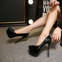 Women Platform High Stilettos Heels Slip On Patent Leather Pumps Nightclub Shoes