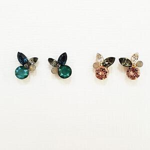 Minimalist Bunny Rabbit Stud Earrings Made With Swarovski Stone 925 Silver Post