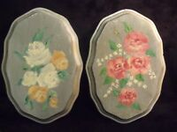 """PAIR OF ANTIQUE 8"""" HAND PAINTED OIL ON WOOD ROSES WALL PLAQUES"""
