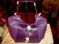 NEW  Women Genuine Leather Circle Hardware W/Chain  Hand Bag PURPLE.