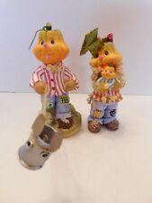 Charming Whimsical Daniel Dela Cruz Set of Two Pumpkin Figurines
