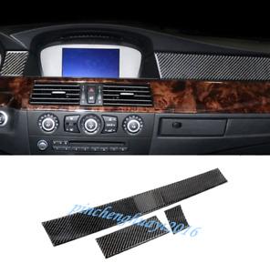 Carbon Fiber Dashboard Center Console Cover Trim For BMW 5 Series E60 2005-2010