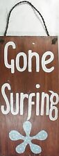 "Gone Surfing Wall Sign Rustic Style Acacia Wood 53cm (21"") Brand New"