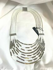 Lafayette 148 White Leather and Silver Metal Statement Necklace