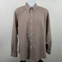 Brooks Brothers 1818 Slim Fit Non Iron Brown Check L/S Dress Button Shirt Sz XL