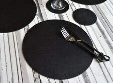 Set 8 ARTISAN Black Bonded Leather ROUND PLACEMATS & 8 COASTERS UK Made 16-PIECE