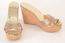 Jimmy Choo gold L9 R8.5 metallic cork wedge slide sandal shoe NEW $450 MISMATCH