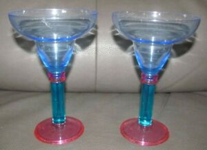 2 Unbranded Margarita Glass Durable Purple Blue Reusable Plastic Cup Preowned