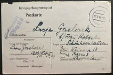 1941 Oflag 2B Germany POW Camp Postcard Cover Prisoner of War Grelcrak