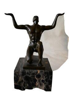 Bronze Man On Marble Base