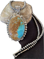 NWOT Kingman Pendant Navajo Pearls Sterling Silver Blue Turquoise Necklace 01310