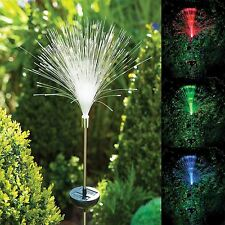 Outdoor Fibre Optic Colour Changing Garden Lights x3 Solar powered