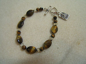 Faceted Tiger Eye & Sterling Silver Ganesha Ohm Charm Bracelet Toggle Clasp 7.5""