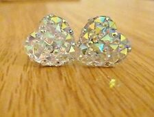 Gorgeous Ab Heart Crystal Diamante Glitter Cute Girls Stud Earrings