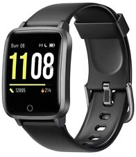 """Letsfit Black Smart Watch 1.3"""" Fitness Trackers IP68 Waterproof iPhone Android"""