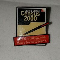 Vintage United States Census 2000 Pin Lapel Hat New Collector's Genuine USA