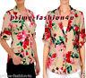 Dolce & Gabbana Beige Pink Silk  Floral Peonies Print Shirt Blouse