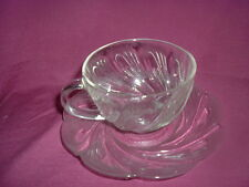 CLEAR GLASS SWIRL PATTERN CUPS & SAUCERS- SET OF 6-GREAT FOR HOLIDAYS.