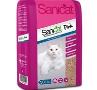 PINK LITTER - (30L) - Sanicat Non Clumping Cat Danish Moler Clay bp Toilet Litre