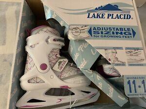 Lake Placid Girls Ice Skates White/Pink Adjustable Sizing Size 11-1