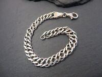 Hübsche 925 Silber Armband Doppelpanzerkette Sterling Unisex Herren Damen Chic