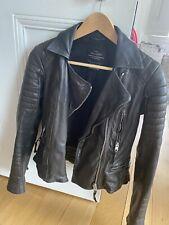 All Saints Black Ladies Leather Biker Jacket Size UK 8