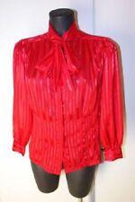 Sexy Rote Satin Glanz Bluse Transparent mit Schluppe Gr 36 - 38