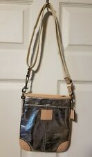 Coach Patent Metallic Silver & Leather Cross Body Bag