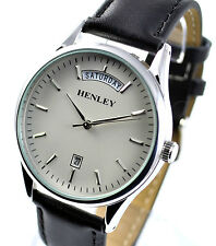 Henley Mens Understated Real Leather Day Date Watch Black Strap Silvertone Dial