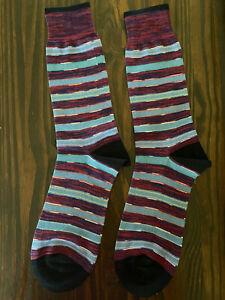 Bugatchi Italian Cotton Socks OS 8.5-12.5 Multi Color Stripe FASHION HAVEN