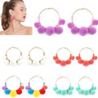 Women Fashion Boho Pom Ball Tassel Long Ear Stud Dangle Drop Earring Jewelry