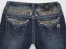 Womens MISS ME JP5645B Boot cut Sequins Crystals Flap Pocket Jeans 28W 34L MINT