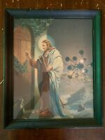 Vintage Jesus Knocking On Door by W. Victor Guinness Religious Art Print Framed