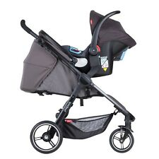 Phil&Teds Smart 3 Travel System in Graphite with Stroller & Alpha Car Seat