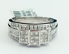 Past Present Future 10k White Gold Three Stone Princess-Cut Quad Diamonds Ring