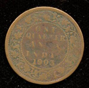 1903 India One Quarter 1/4 Anna World Coin