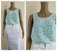 ex Monsoon Mint Sheer 3D Floral Embellished Embroidery Top