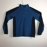 LL Bean Mens Fleece Pullover Jacket Sweater Size Small Blue Black Warm Half Zip