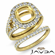Halo Diamond Engagement Ring Bridal Set 14k Gold Yellow Cushion Semi Mount 1.7Ct