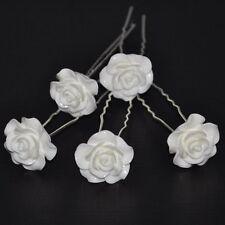Juego de 5 pasadores Rosas Flor Boda Novia Adorno Para Cabello Elegante Blanco