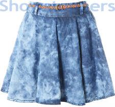 ACID WASH TIE DYE SKATER SKIRT Size 6 8 10 12 14 Womens DENIM Skirt Ladies Blue