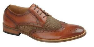 Mens Boys BrogueS Oxford Lace Up Wedding Formal Tan Shoes Infant 10 - Mens 12 uk