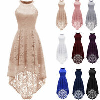 Women's Halter Maxi Lace Dress Hemline Wedding Bridesmaid Formal Dresses