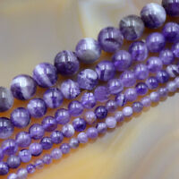 Wholesale Grade A Natural Purple Amethyst Gemstone Round Beads 4mm 6mm 8mm 16""