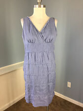 Talbots Light Blue A Line 100% Linen Dress 6 P Excellent Career Casual tiered