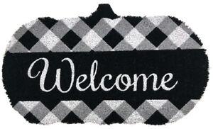 "Black and White Pumpkin Fall Natural Fiber Coir Doormat Autumn Welcome 18""x30"""