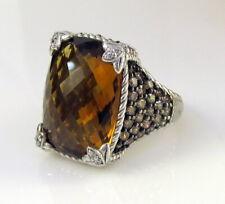 Estate Judith Ripka Sterling Silver Ginger Quartz Cognac Diamonique Monaco Ring